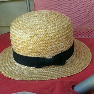 H&M Straw Hat With Black Bow
